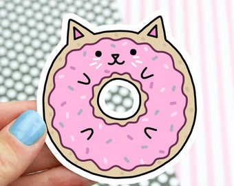 Moving SALE Cat Sticker, Sweet Cat, Pop Stickers, Donut Cat, Gift For Her, Cute Cats, Kitty Decal, Girlfriend Gift, Laptop Decal, Car