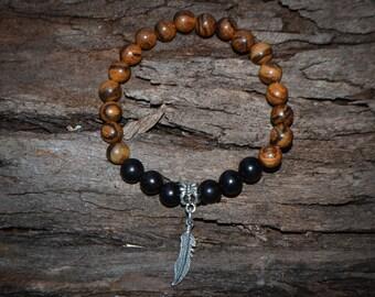 FREE SHIPPING WORLDWIDE-Wooden Bracelet-Stretch Bracelet-Unisex Bracelet-Wood Bead Bracelet-Brown Bracelet-Black Wood Beads-Reiki Jewellery