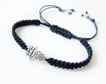 Hamsa hand of Fatima bracelet Good luck Healing bracelet Amulet Oriental Yoga bracelet Cord braided Black Macrame Meditation spiritual Gift