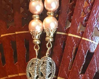 Pink pearls  Drop-Wedding-bridesmaid-bride-silver 925-sterling silver hooks. Filigree