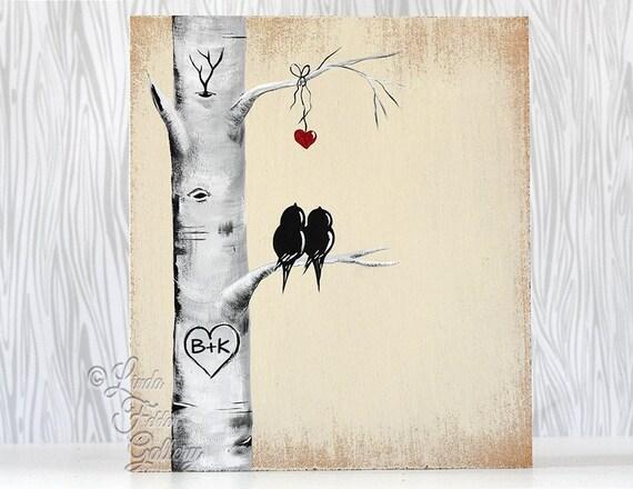 Wedding Gift Paintings: Rustic Wood Signs Love Gift Wood Sign Love Bird Painting Aspen