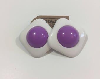 Vintage Purple Geometric Earrings - 80's Earrings - Vintage Pierced Earrings - Vintage Geometric Earrings - Plastic Earrings - Square Ear