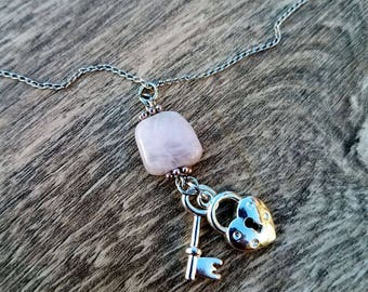 Save the Drama- Delicate Genuine Pink Kunzite Lock and Key Pendant Necklace