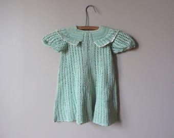 1930s little girls mint green crochet dress • size 2T - 3T