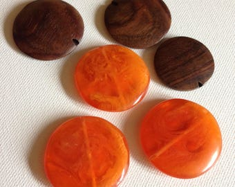 Large flat beads marbled orange plastic and wooden beads