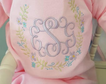Baby monogram/floral design/baby girl gown