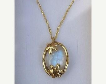 SALE Moonstone Gold Pendant ,14K Yellow Gold Pendant ,Gemstones Gold Pendant ,Moonstone Gold Necklace ,Handmade Gold Pendant ,Bridal Pendant