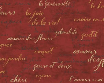 excellent french script fabric by the yard. Upholstery Fabric  Drapery Red Script French Paris France