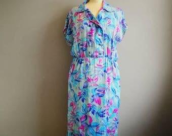 Silky 80s midi dress / green pink 80s floral dress / batwing dress / elastic waist dress / boho retro 80s dress / quirky dress / 80s boho