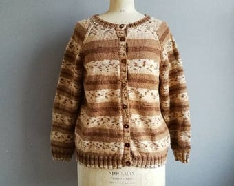 Vintage hand knitted cardigan / brown wool cardigan / striped knitwear / war time style cardigan / warm winter knit / hand made cardigans