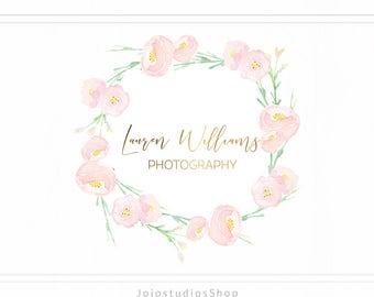 Calligraphy Logo Flower Design, Feminine Logo Design, Gold Premade Logo,  Floral Logo Watercolor Logo Design, Wreath Logo Design, L134