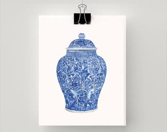 REPRODUCTION PRINT of a blue and white 'ladies' jar and over Qing Dynasty,  Kangxi period
