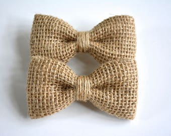 Small burlap hair bows,set of two hair bows,Burlap Hair Bows