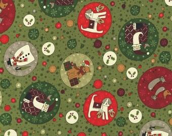 RJR Festive Fun Lynette Anderson Christmas Dog Snowman Santa Stars Fabric 2778-003 BTY