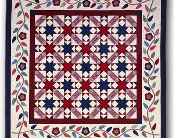 Nancy Rink Faye Burgos Glory Days Red White Blue Patriotic Complete Quilt Kit 88x88