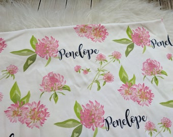Personalized baby name poppy pink flower swaddle blanket for newborn or hospital pictures: baby personalized name newborn hospital gift baby