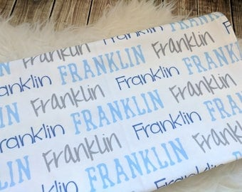 Personalized blue swaddle blanket: baby and toddler personalized name newborn hospital gift baby shower gift
