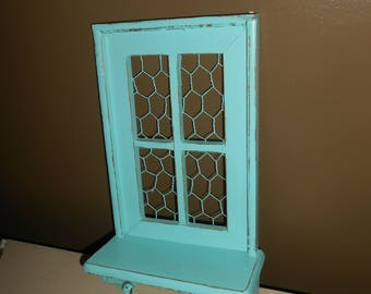Jewelry Holder, Memo Holder, Photo Holder, Shelf, Peg Hooks, Upcycled, Vintage, Shabby Chicm Hearts Design, Mint Green, Chicken Wire, Wood