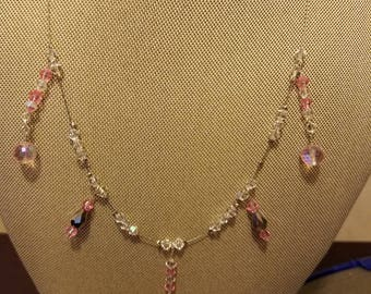 Clear and pink crystal necklace