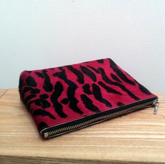 Pink Zebra Cowhide leather purse (pouch)
