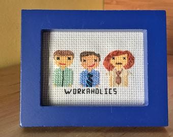 Workaholics Cross Stitch Portrait
