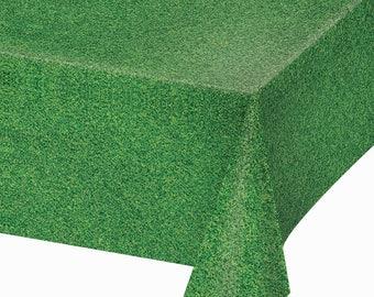 "6 Green Grass Look Tablecloths ~ Table Covers ~  54"" x 108"" ~ Disposable Plastic ~ Soccer! Football! Golf! Picnics! Super Value!!"