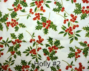Christmas Holly Fabric 2007 ~ By The Yard