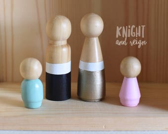Customize Your Wooden Peg Doll Family Choose Color and Members