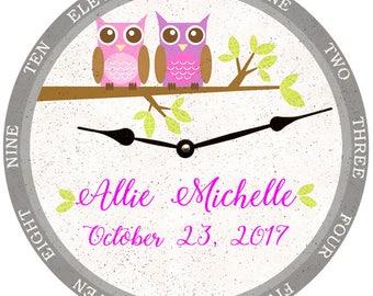 Owl Clock- Childrens Owl Clock- Personalized Nursery Clock