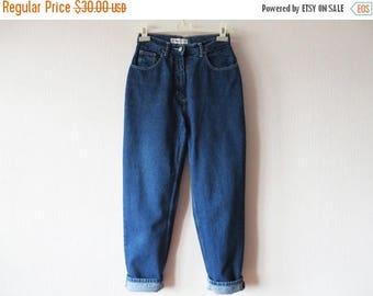 CIJ SALE High Waist Denim Jeans Blue Womens Peg Leg High Waisted Jeans Trousers Pants Hipster Grunge Tapered Leg Medium Size