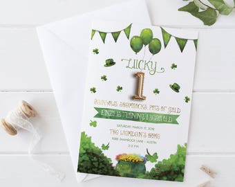Lucky One - St. Patrick's Day First Birthday Party Invitation - Saint Patty's Day Invite - Shamrock Birthday for a Boy or Girl