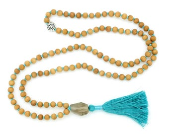 Sandalwood & Smoky Quartz Mala, 6-7mm, 108 beads