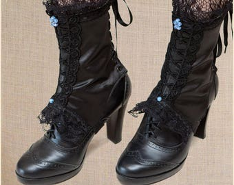 "Black Satin Lace Fabric Victorian Spats ""Etreinte"" Opal Beads"
