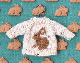 Brown Bunny Tweed Hand-Knit Sweater Ornament  *Available to Order*