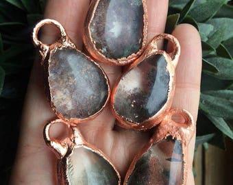 Quartz droplet necklaces, simple quartz necklace, copper quartz necklace