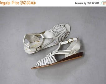 SHOP SALE 1980's white leather huarache wedge sandals •  size 9