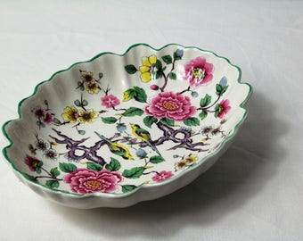 Trinket Dish, Old Foley, Floral James Kent Lt, Staffordshire, England, Vintage plate, Chinese Rose, c1950's