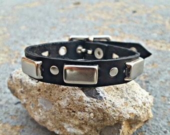 Real Leather Studded Stacker Bracelet
