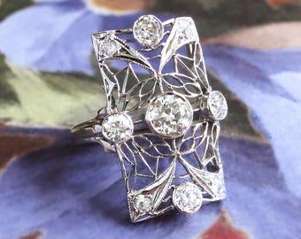Art Deco Old European Cut Diamond Lacey Filigree Statement Ring 14k White Gold