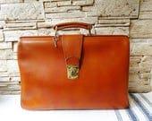 Large Vintage Brown Genuine Leather Bag with Key Travel Bag Handbag Doctors Bag Document Bag Messenger Laptop Bag Shoulder Bag Retro  Bag