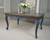 Hague Blue Shabby Chic French Louis Extending Oak Dining Table  Seats 10  FREE UK DELIVERY