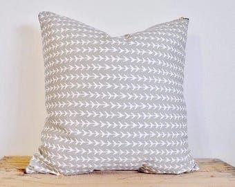 Grey arrow design throw pillow cover