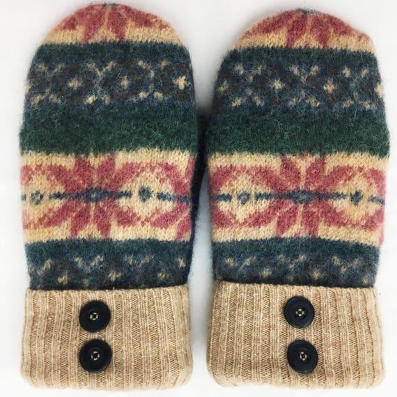 Sweater Mittens Classic Wool Mittens Snow Flake Pattern