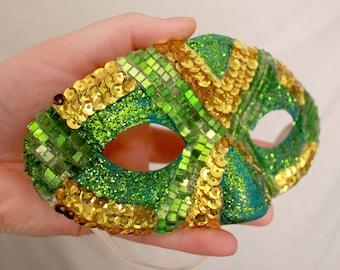 Green and Gold Masquerade Mask
