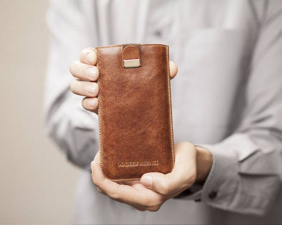Case for Nokia 8 6 5 with Magnetic Flap. Engraved Your Name. Genuine Brown Leather Sleeve Cover Pouch