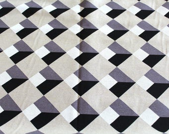 Coupon fabric upholstery black and grey 70 x 50 cm