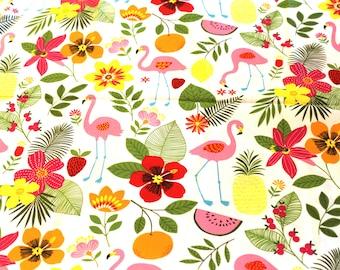 Fabric coupon 50 x 70 cm pink flamingos