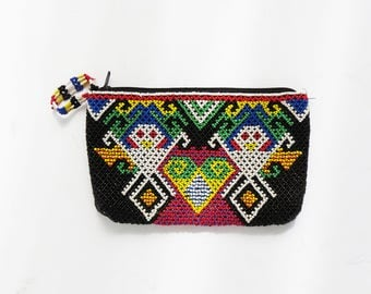 Beaded Southwest Pouch // Native American Zipper Pouch Clutch Make Up Bag // Vintage Accessory