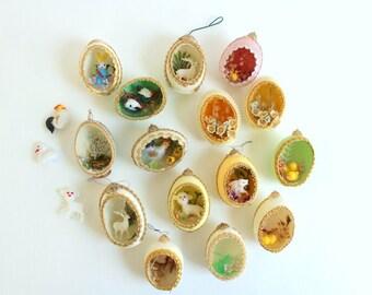 Egg Diorama Lot, Egg Diorama, Egg Art, Egg Panorama, Floral Egg Diorama, Floral Egg Art, Egg Ornament, Pastel Egg, 15 Eggs & Extra Animals