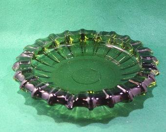 "Vintage 1940's 50's  Large 10"" Avocado green Glass Ashtray-Fostoria Glass, USA, Tobacciana"
